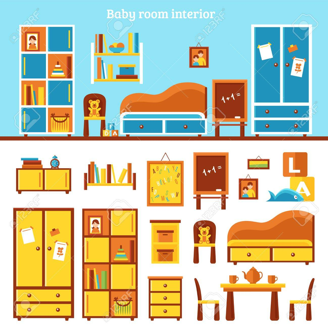 Baby room furniture infographics with interior of nursery and..