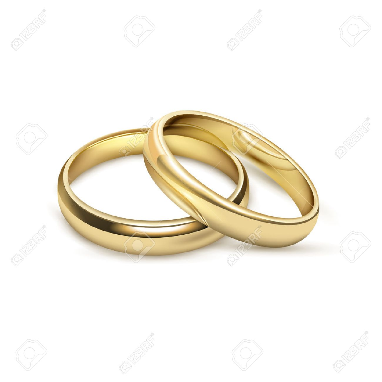 Two matching bridal wedding or engagement traditional gold rings set jewelry advertisement icon realistic vector illustration - 66601234