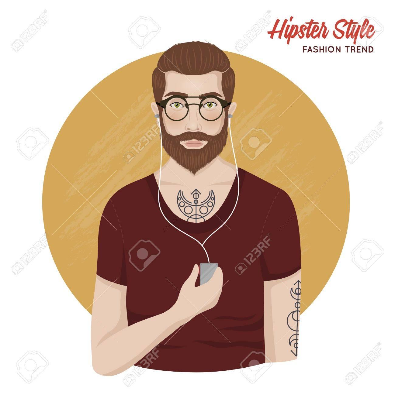 Hipster-Stil-Vorlage Mit Mann Hemd Bart Schnurrbart Tatoos Gläser ...