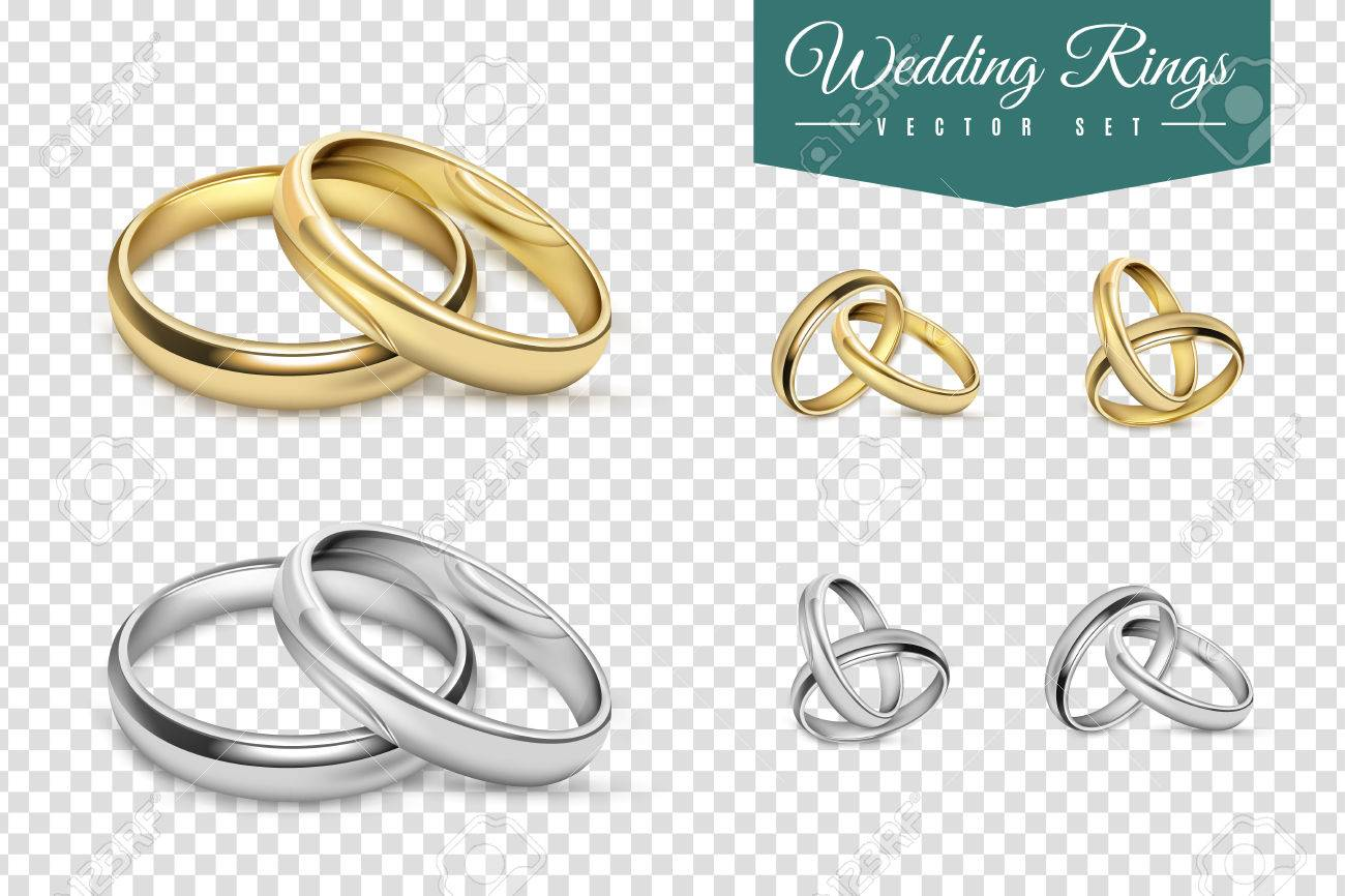 Wedding Rings Set Of Gold And Silver Metal On Transparent Background
