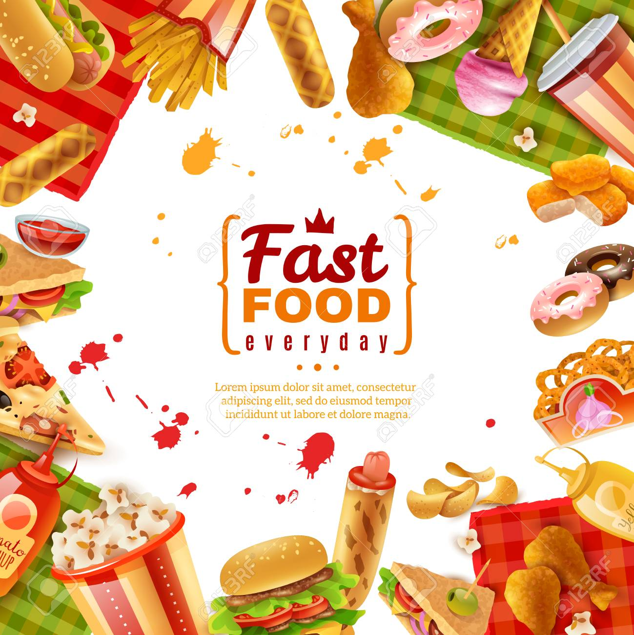 fast food template with different colorful tasty unhealthy meals