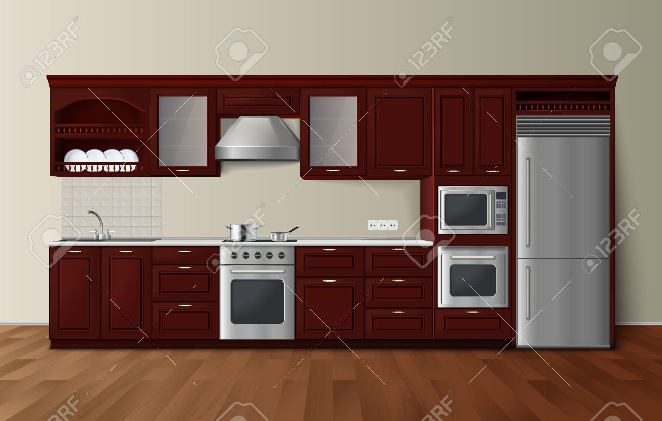 Cocina De Lujo Moderna Gabinetes De Color Marrón Oscuro Con ...