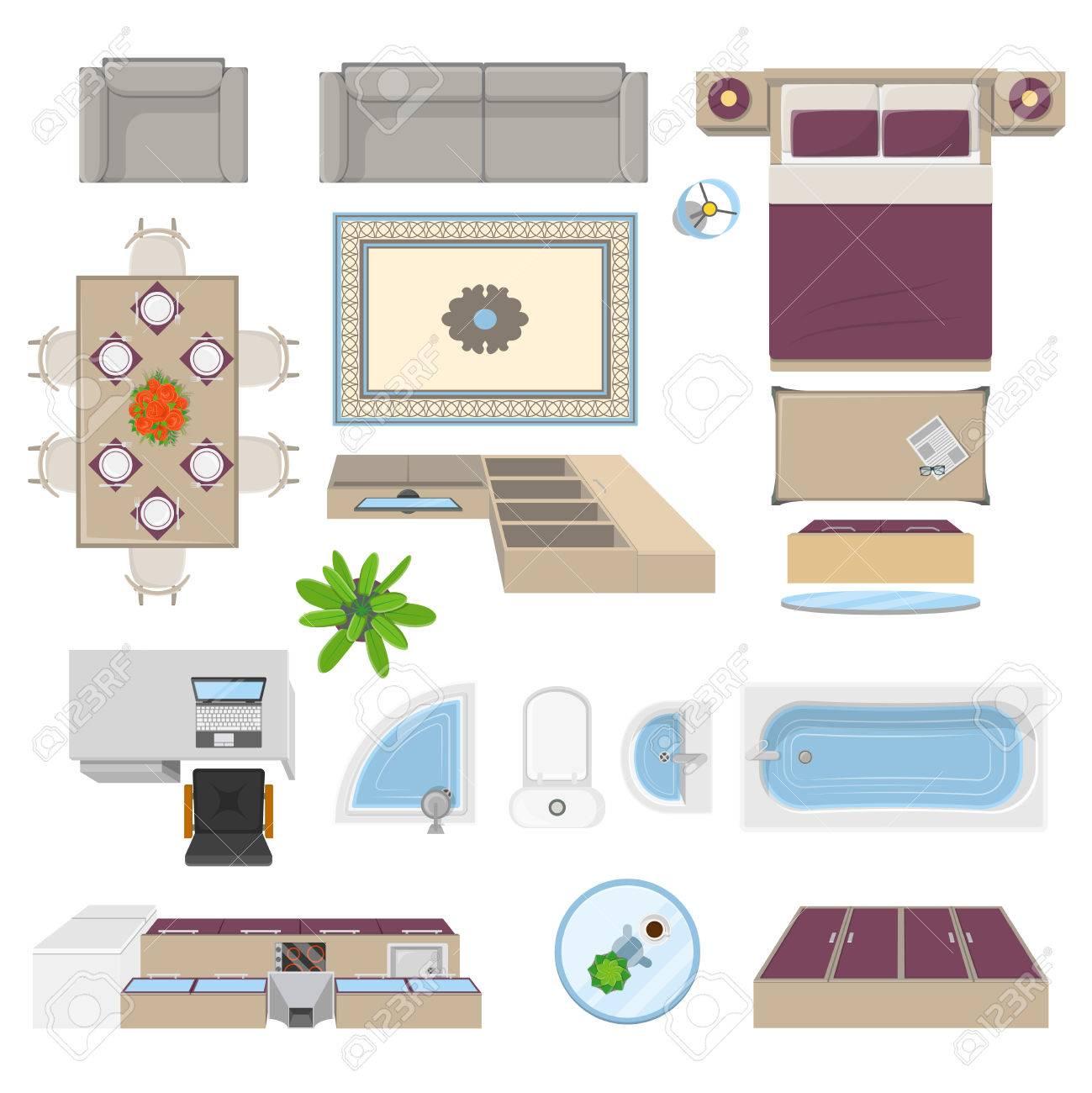Lments Interieurs En Vue De Dessus La Position Avec Des Meubles De Chambre A Coucher Salon Cuisine Salle De Bain Isolee Illustration Vectorielle