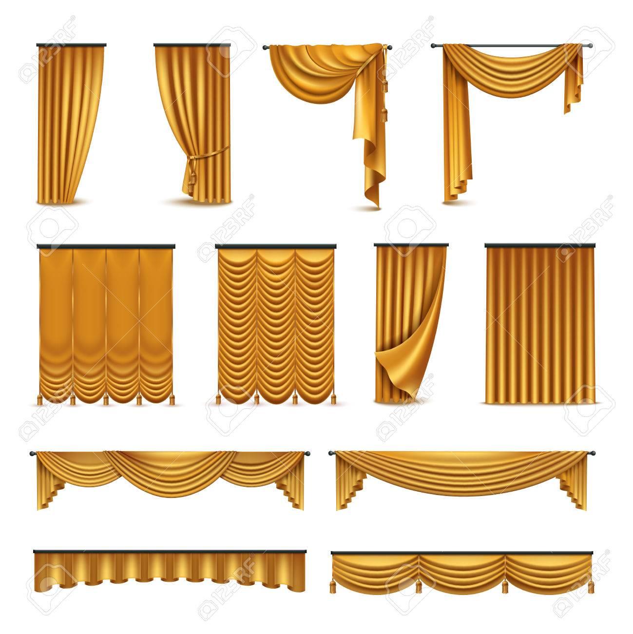 Interieur Ideeen Gordijnen.Golden Zijdefluweel Luxe Gordijnen En Draperieen Interieur Ontwerp Ideeen Realistische Pictogrammen Geisoleerd Collectie Vector Illustratie