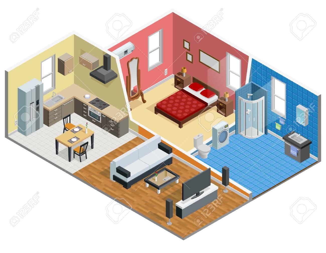 Appartement conception isométrique avec cuisine salle de bain chambre à  coucher et salon vecteur illustration