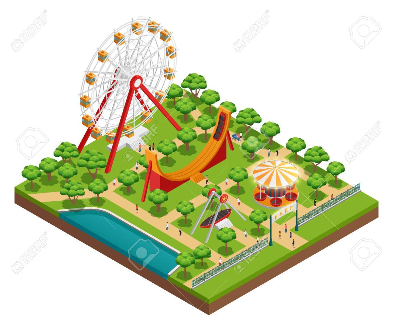 Amusement park isometric composition with carousel and ferris amusement park isometric composition with carousel and ferris wheel symbols vector illustration biocorpaavc