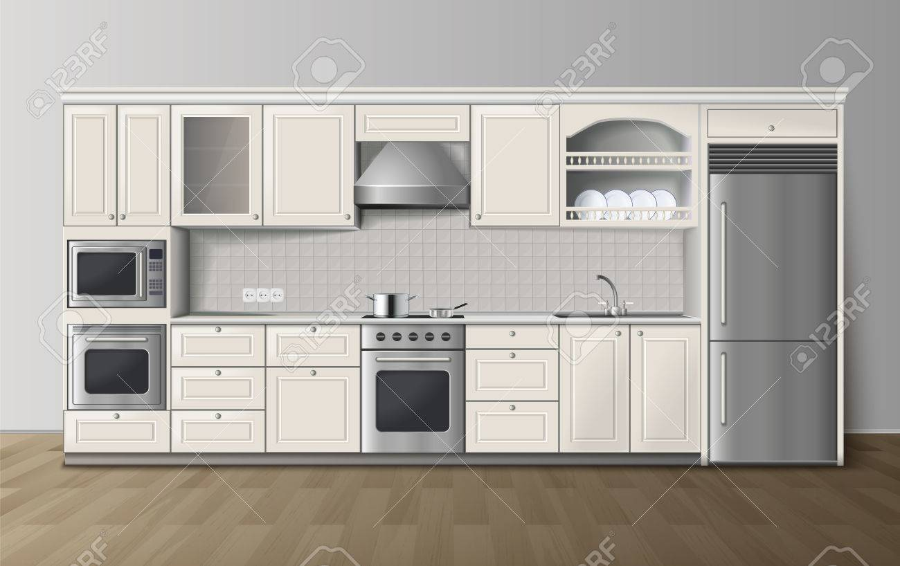 Modern Luxury Kitchen White Cabinets With Built In Cooker And Refrigerator  Realistic Side View Image