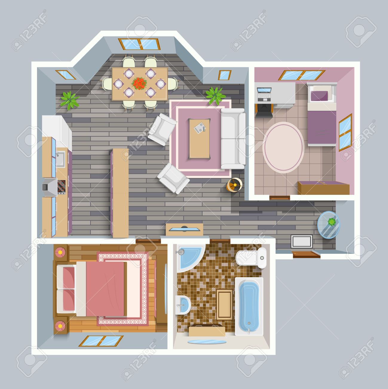 architectural flat plan top view with living rooms bathroom architectural flat plan top view with living rooms bathroom kitchen and lounge furniture vector illustration stock