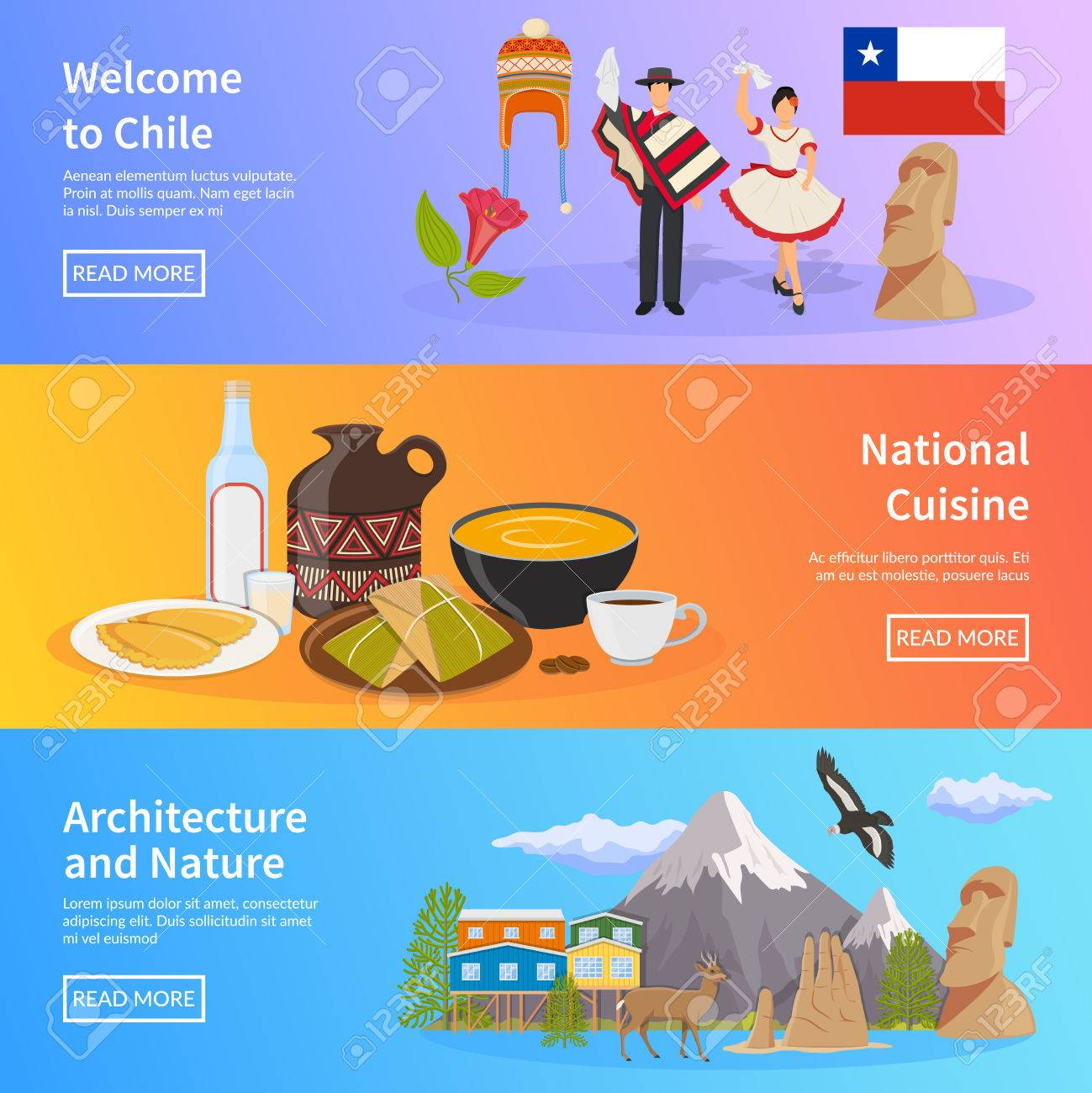 Chile colored horizontal banners set with elements of national chile colored horizontal banners set with elements of national symbols landmarks nature and cuisine flat vector biocorpaavc Images