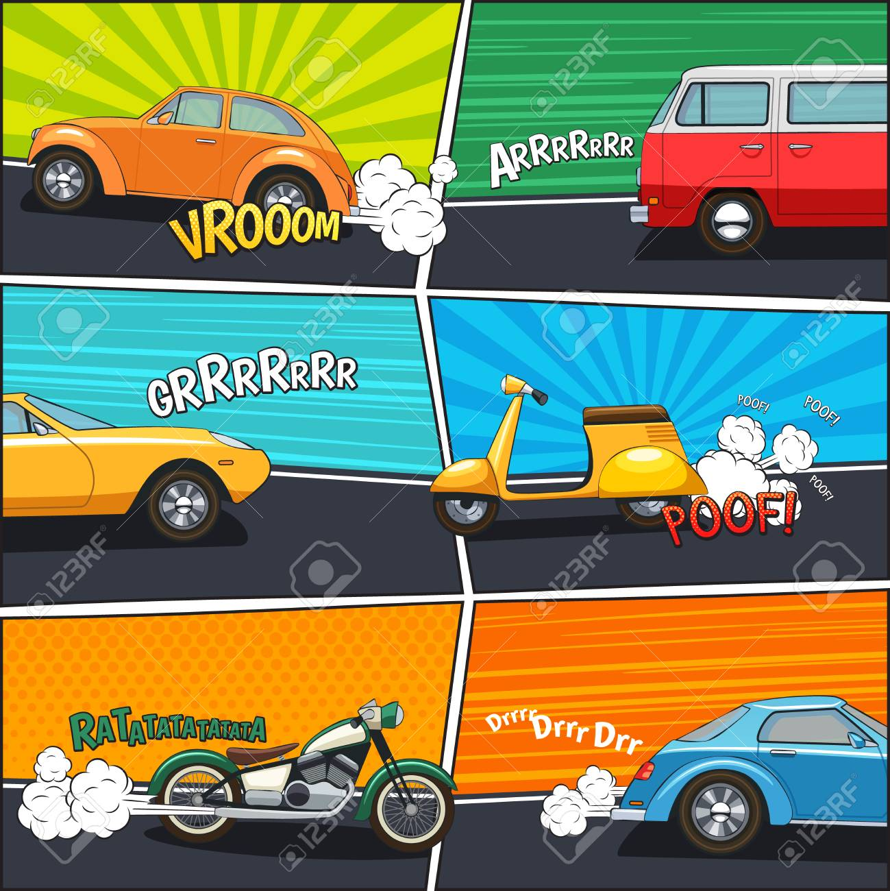 Transport Comic Frames With Moving Cars Van Motorcycle And Scooter ...