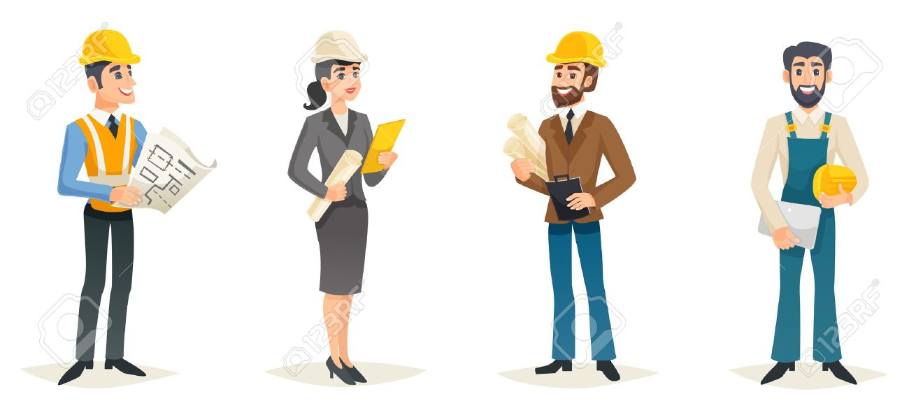 Engineers cartoon set with civil engineering construction workers architect and surveyor isolated vector illustration - 67279029