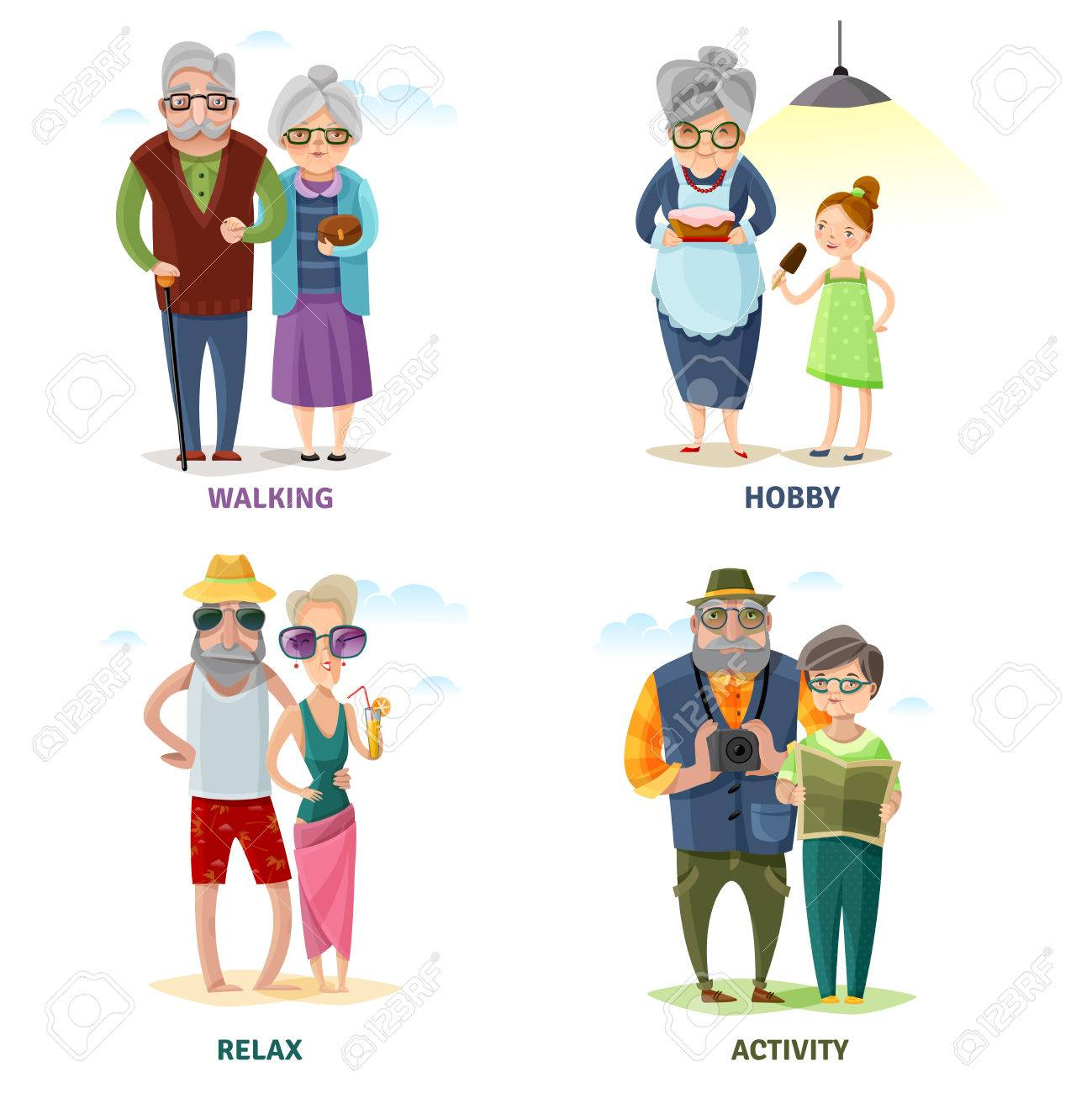 Charmant Old People Cartoon Collection In Different Activities And Situations  Isolated Vector Illustration Stock Vector   67285441