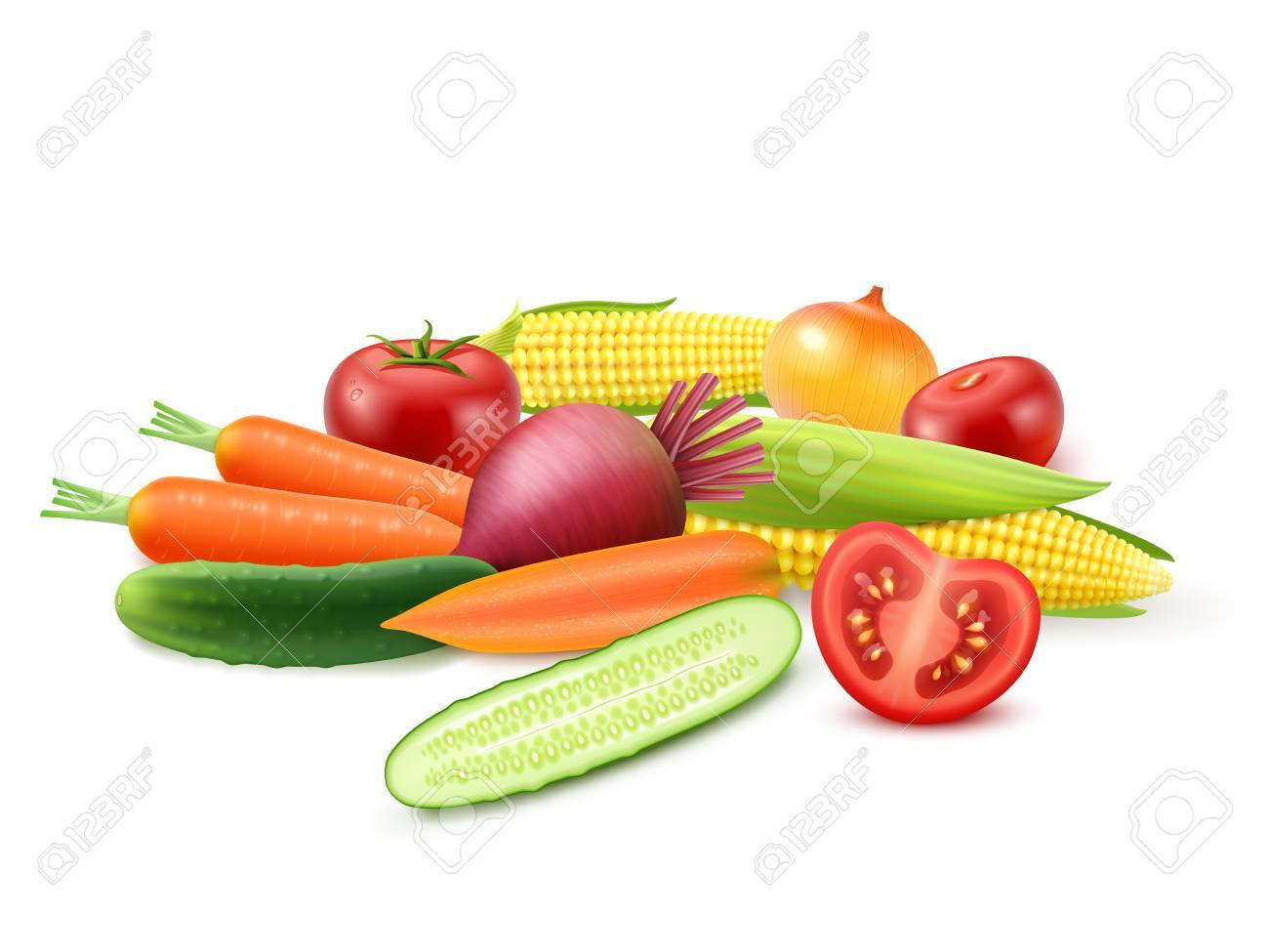 colorful fresh vegetables template with cucumber tomato beet