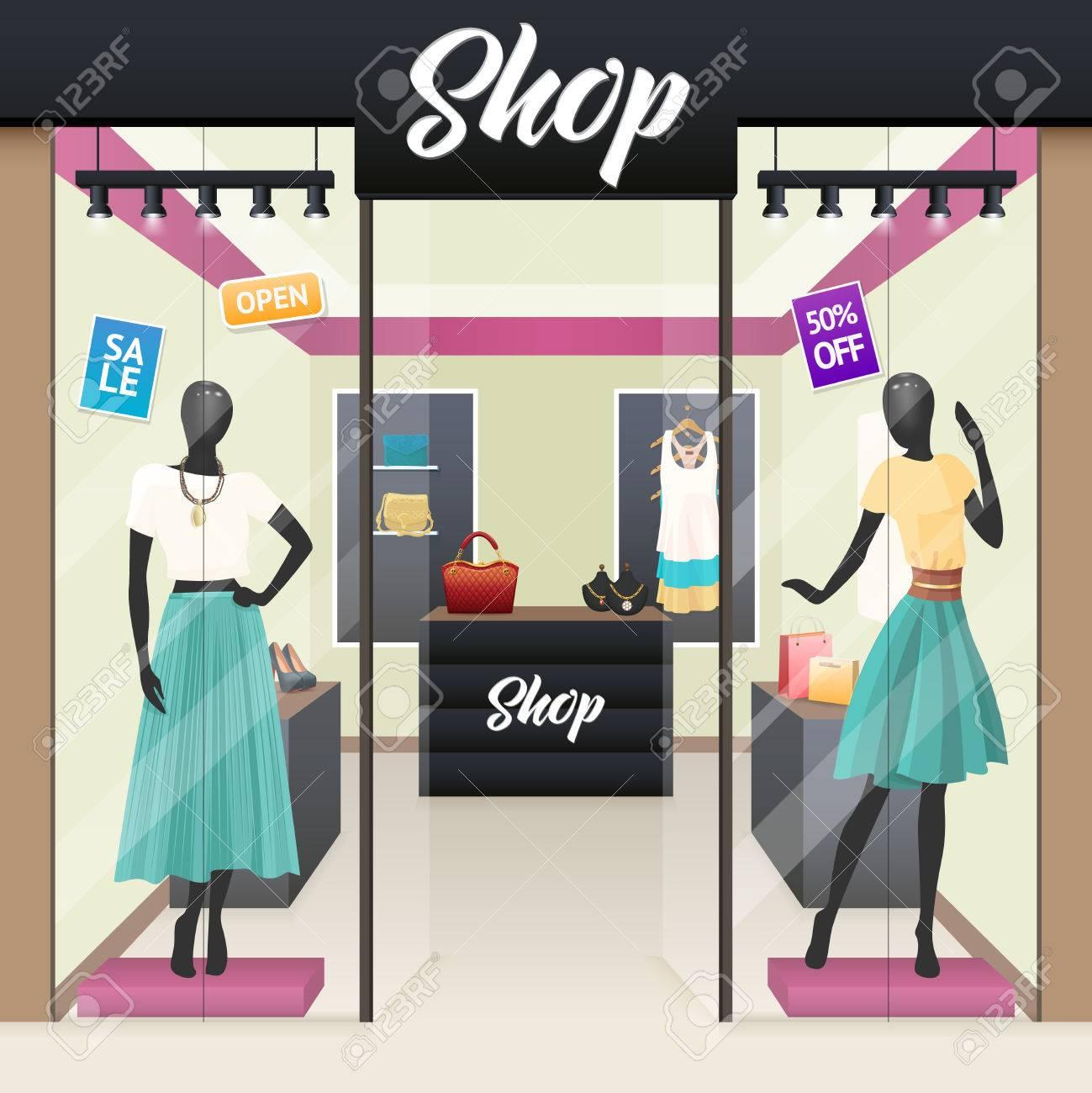 3c3a3963 Mujeres de la ropa de moda y accesorios de belleza tienda de venta ventanas  de visualización Street ver ilustración vectorial imagen realista