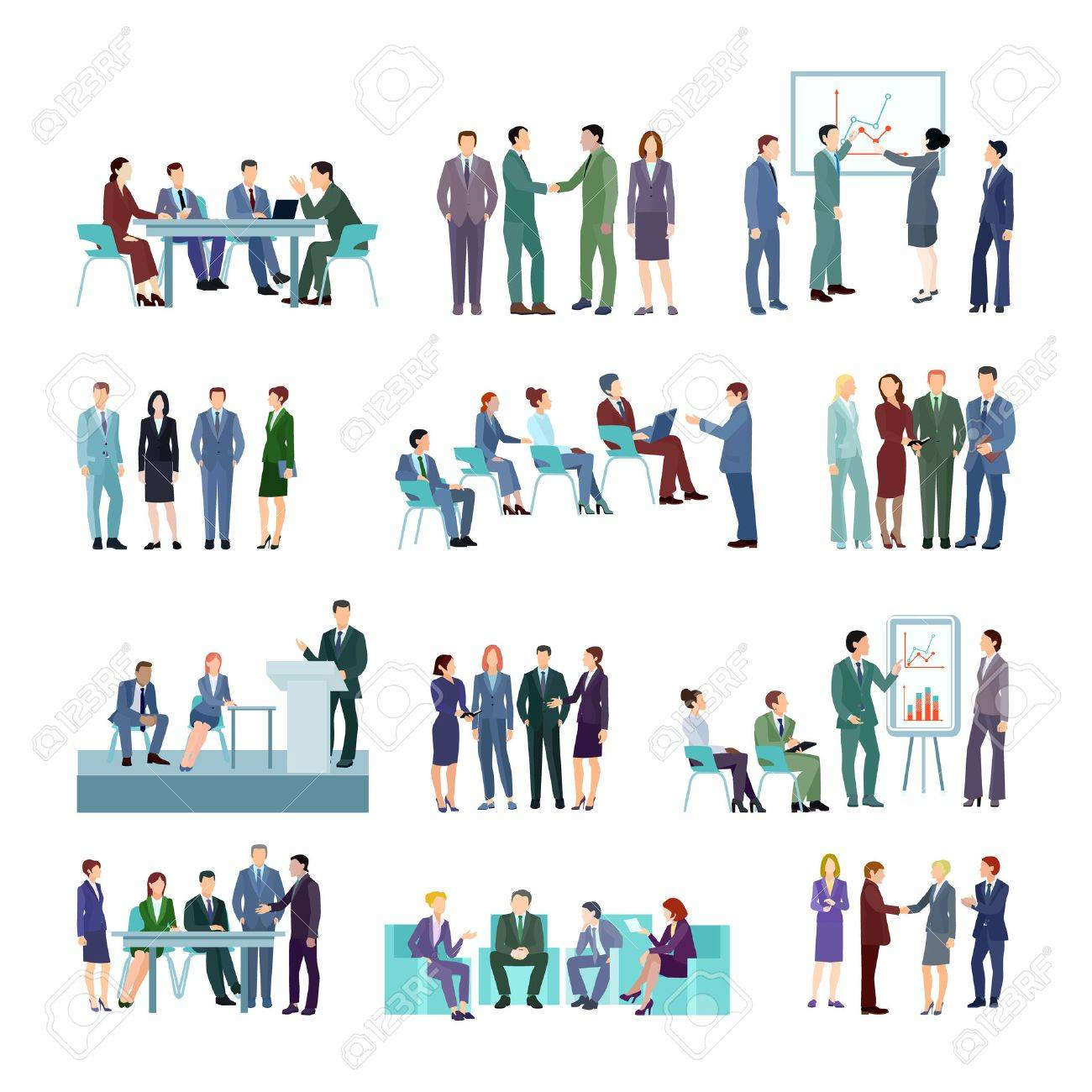 Flat meeting conference groups set of business people discussing strategies of company development isolated vector illustration - 69663214
