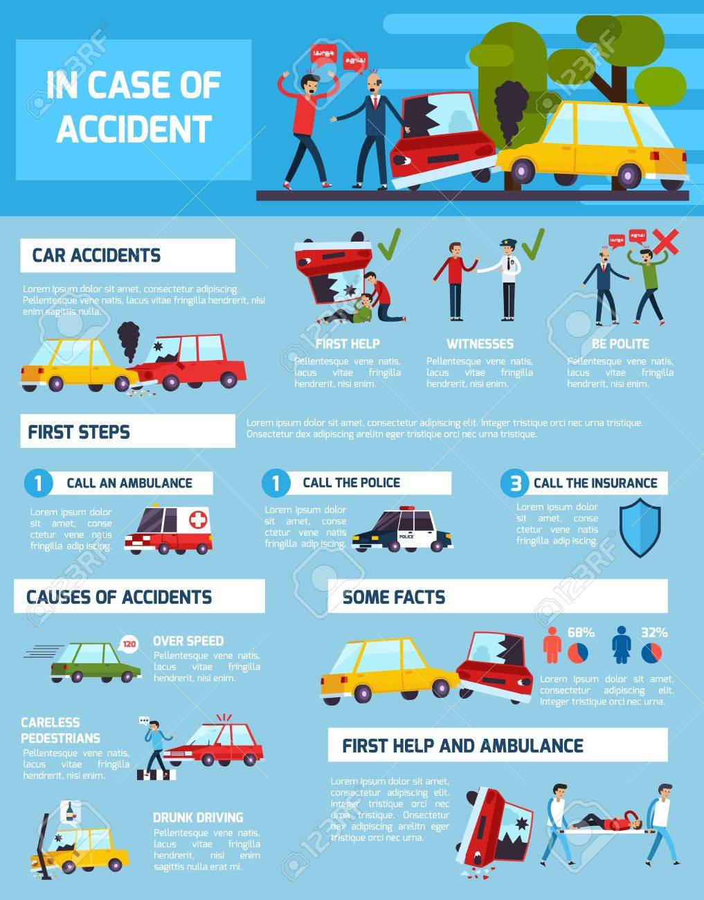 Road Accidents Infographic Set With First Aid And Causes Symbols ...