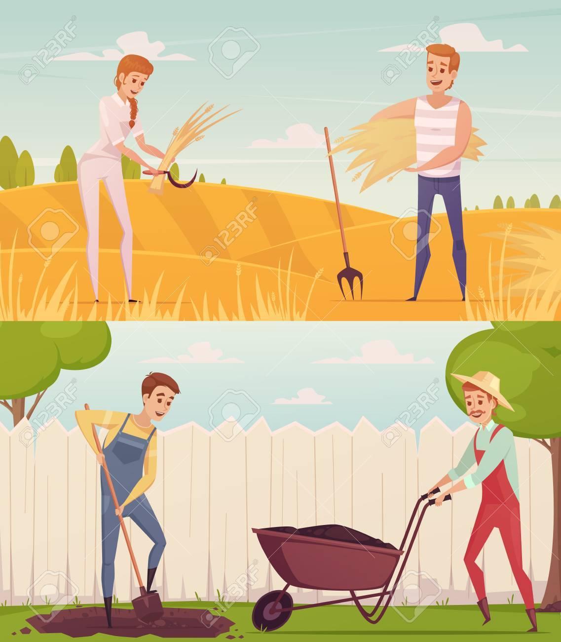 Zwei Gartner Bauer Cartoon Menschen Kompositionen Mit Lustigen Comic