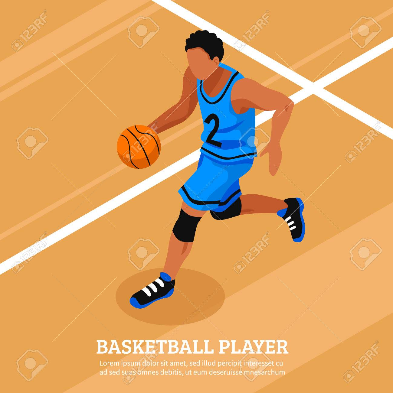 Sport Isometric Template With Running And Dribble Basketball ...