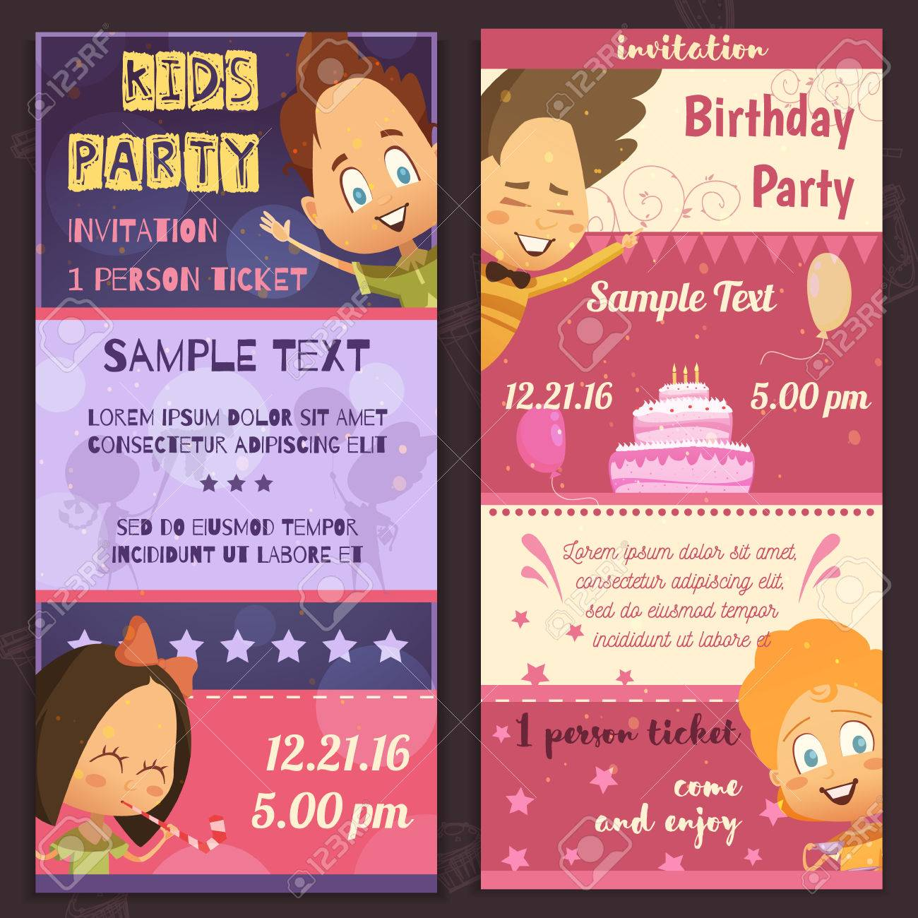 Kids Party Invitation Layout Vertical Banners With Glad Children