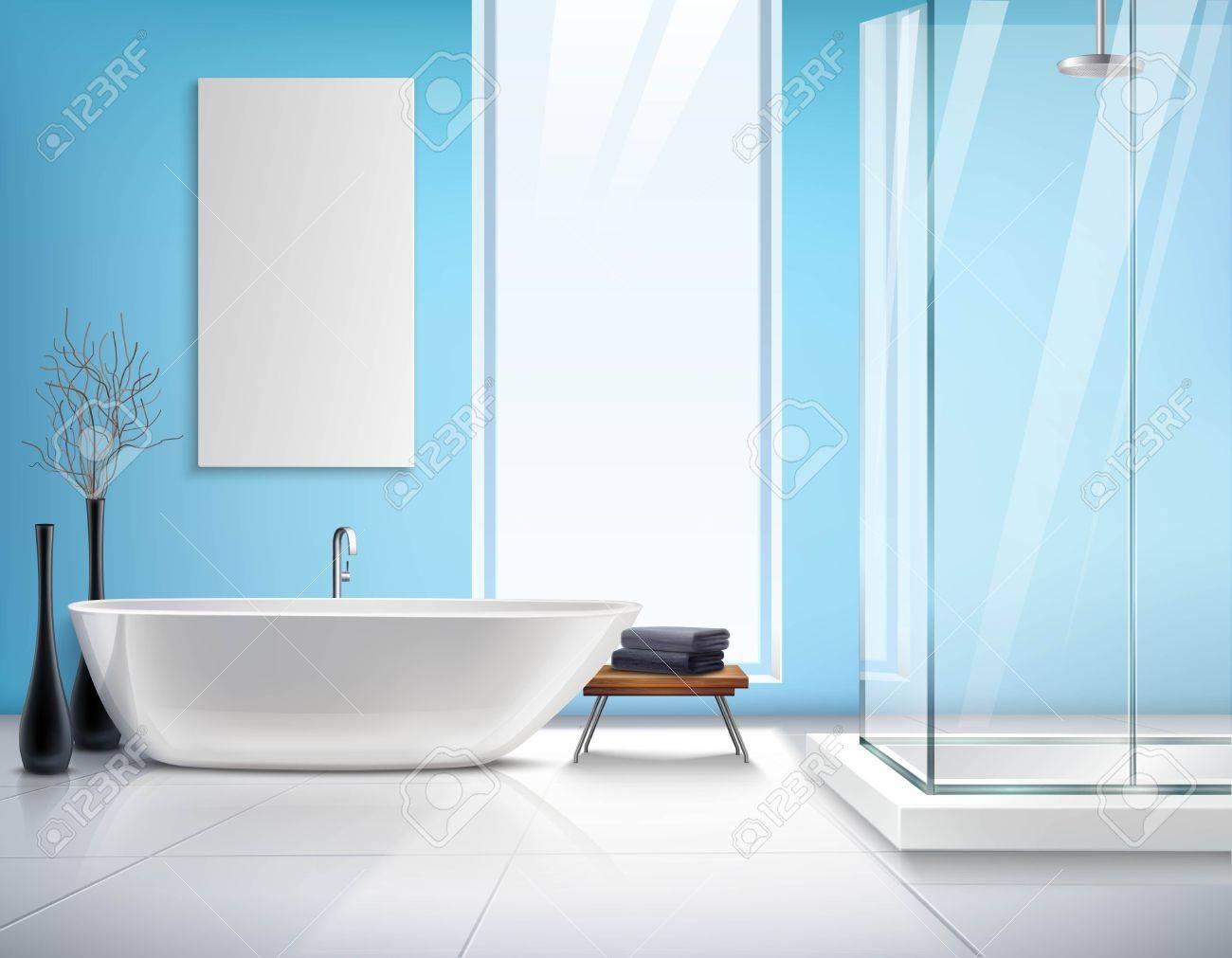 Modern Light Bathroom Realistic Interior Design With White Bath ...