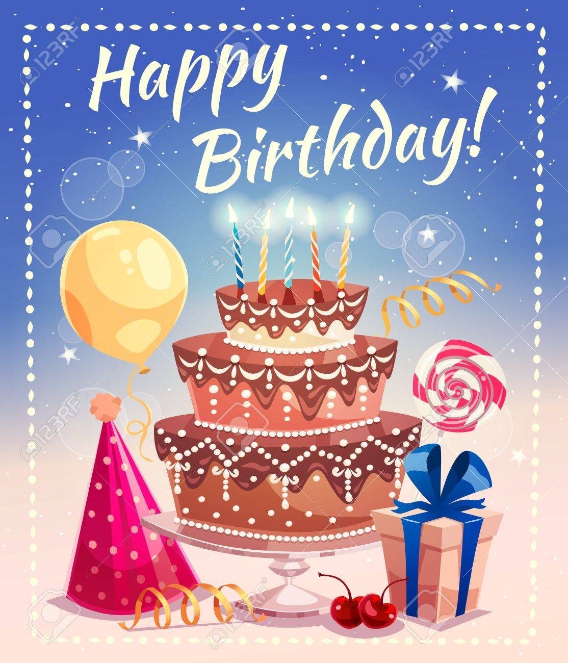 Happy Birthday Greeting Card With Big Cake Candles Gift Box Tied By Ribbon Air Balloon And