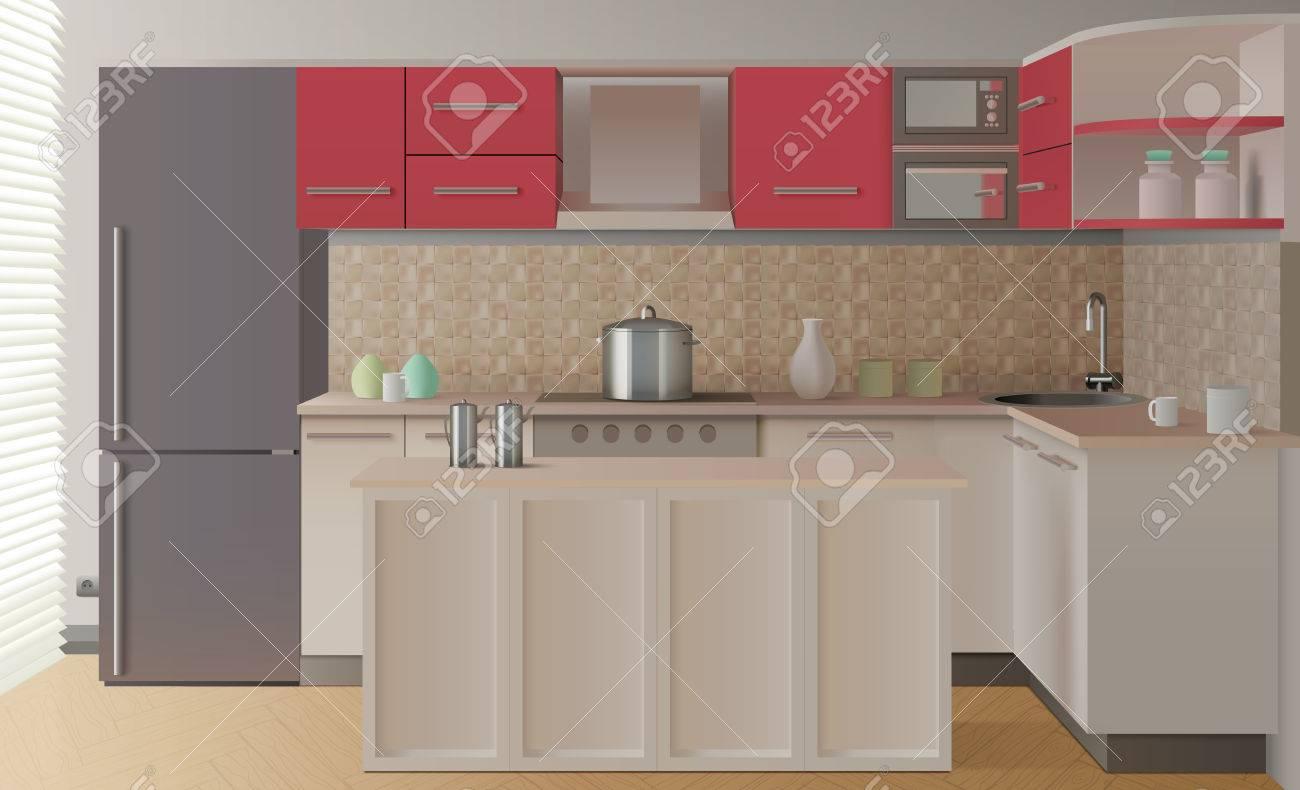 Composition de l\'intérieur de la cuisine colorée dans un style moderne et  réaliste avec bar illustration vectorielle