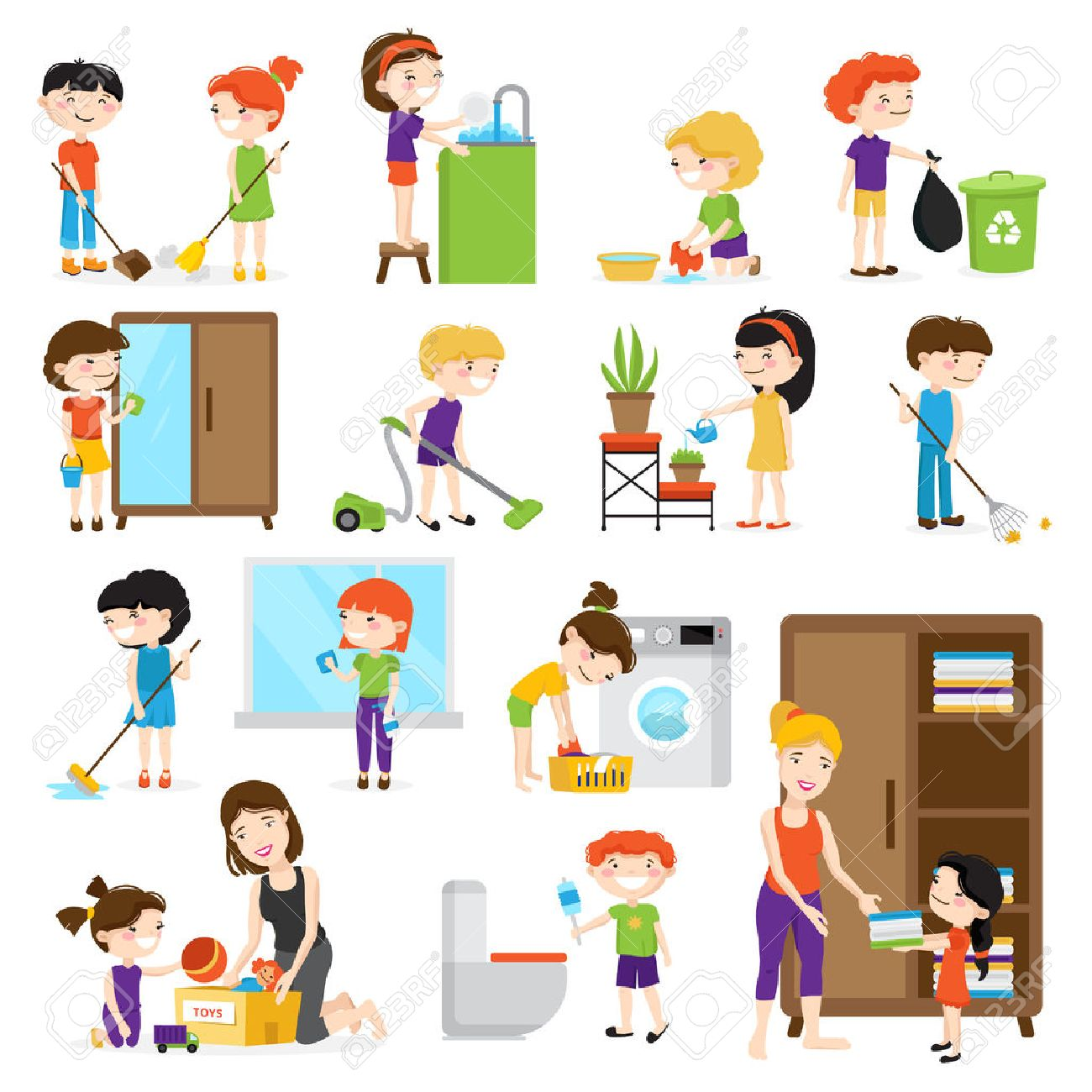 Colorful cartoon set with kids cleaning rooms and helping their mums isolated on white background vector illustration Stock Vector - 68241082