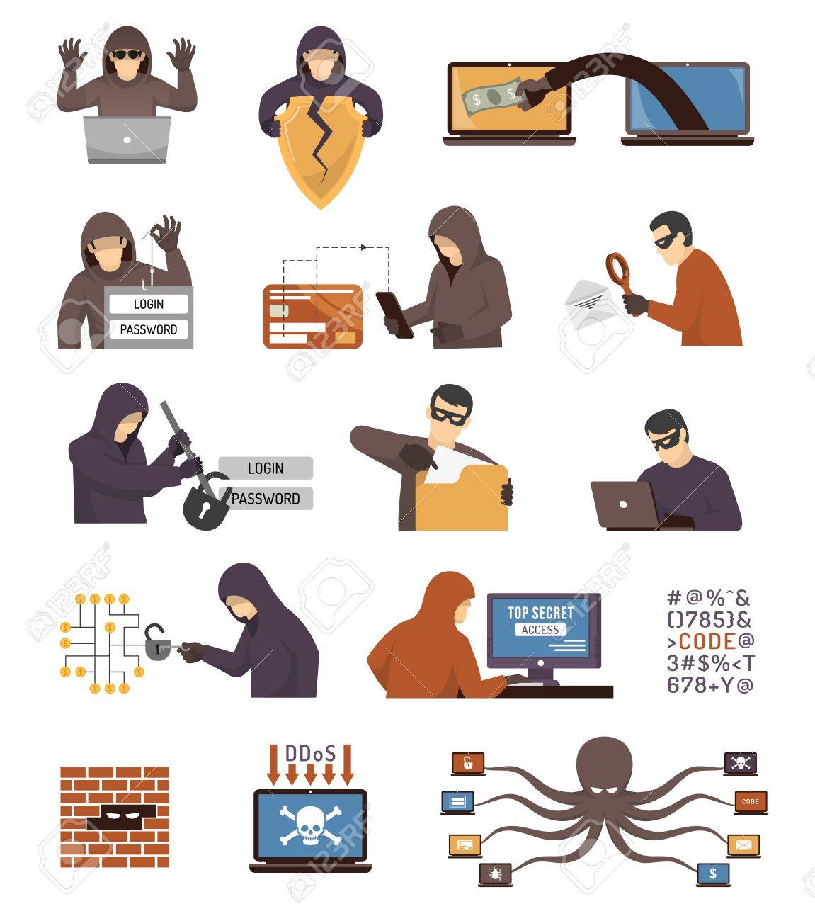Internet security hackers tools tricks and schemes flat icons