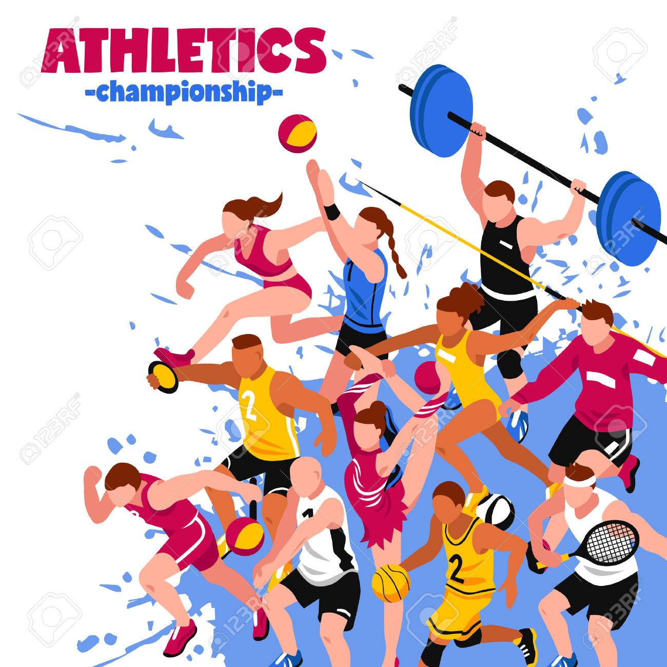 Colorful sport isometric poster with active players sportsmen and athletes on splash background vector illustration Stock Vector - 68541182