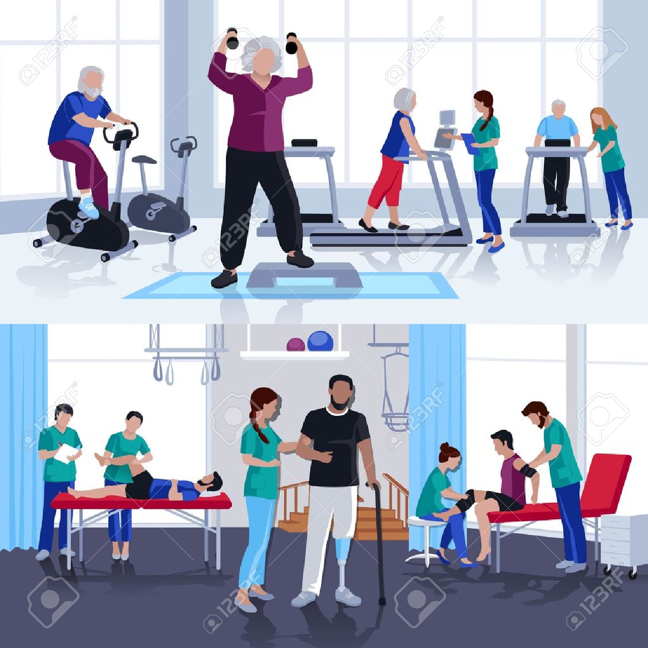 Rehabilitation care and physiotherapy treatments for children and adults 2 flat banners composition poster isolated vector illustration - 68585360