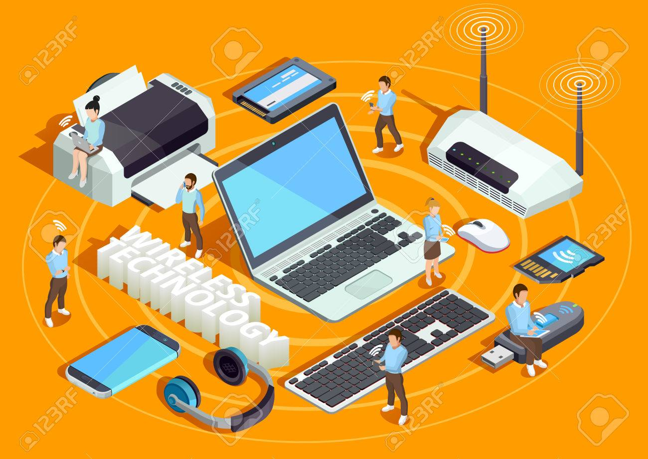 Wireless technology electronic devices isometric composition poster with laptop printer smartphone router and users orange background vector illustration Stock Vector - 68585714