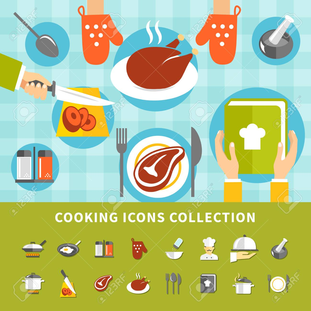 Cooking Elements Set With Kitchen Utensils Different Dishes Meals ...