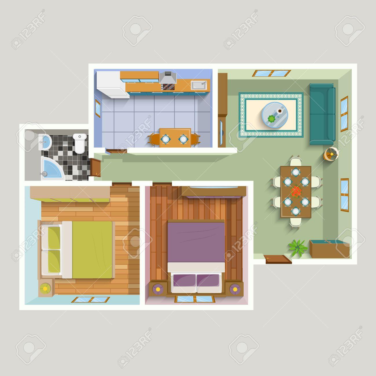 Draufsicht Wohnung Innenraum Detaillierter Plan Mit Wohnzimmer Küche ...