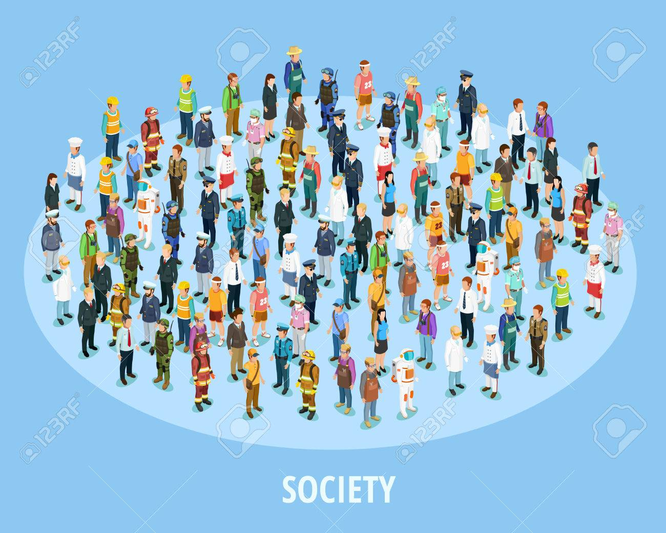 professional society isometric background with people of different