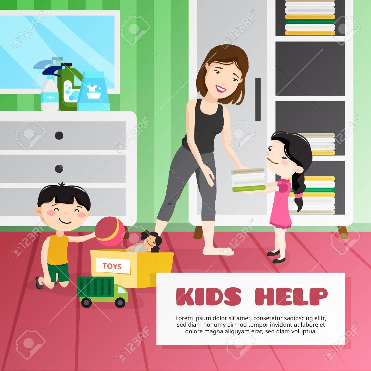 Sonriente niños que ayudan a su cuarto de limpieza dibujos animados  ilustración vectorial madre