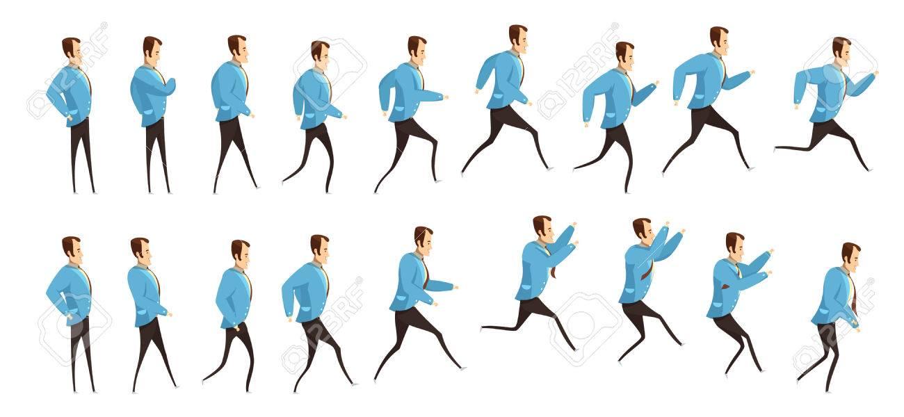 Animación Con Secuencia De Fotogramas De Correr Y Saltar En El ...