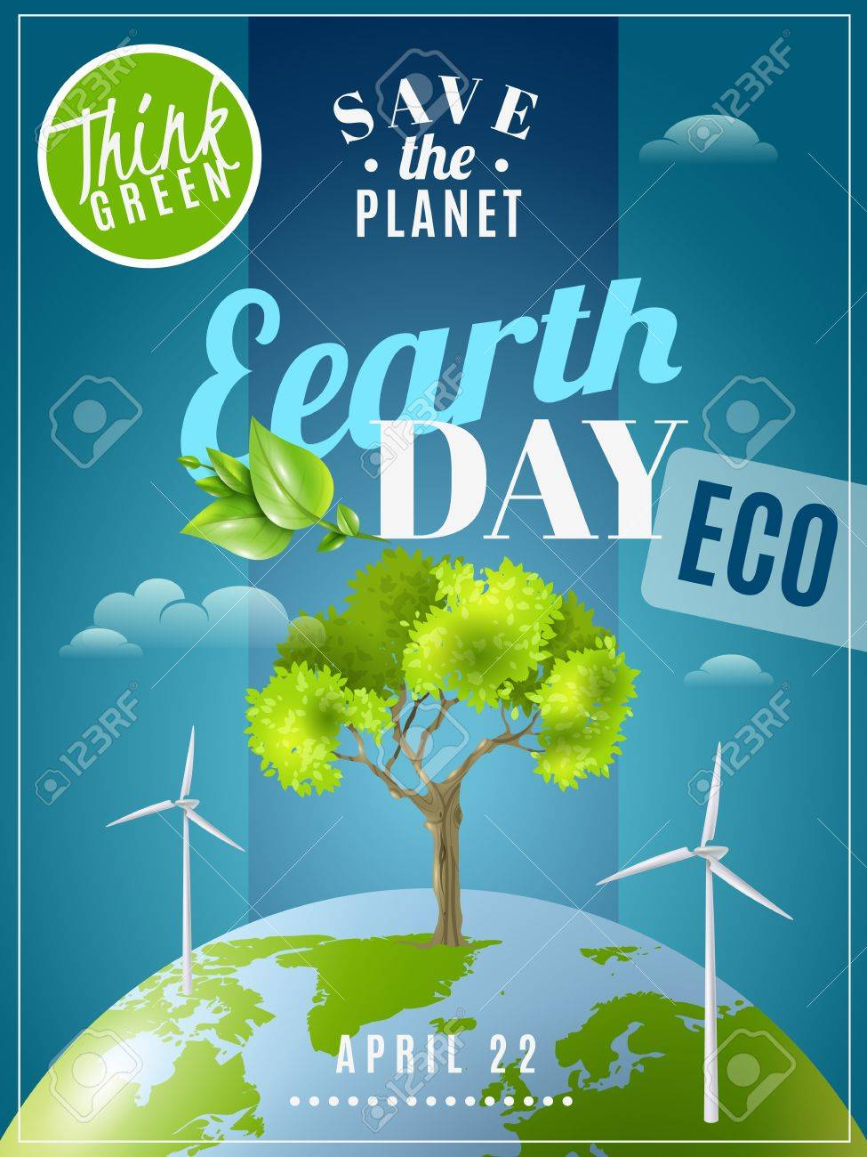 save planet earth day announcement environmental awareness advertisement eco poster with green energy sources colorful vector