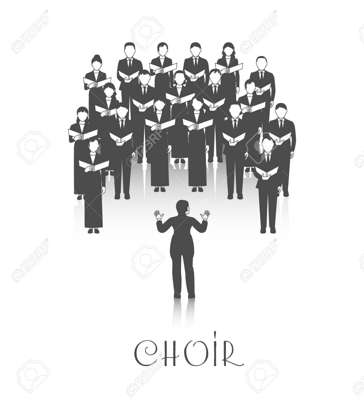 Classic choir performance with sheet music led by conductor dressed in black on white background vector illustration Stock Vector - 70901201