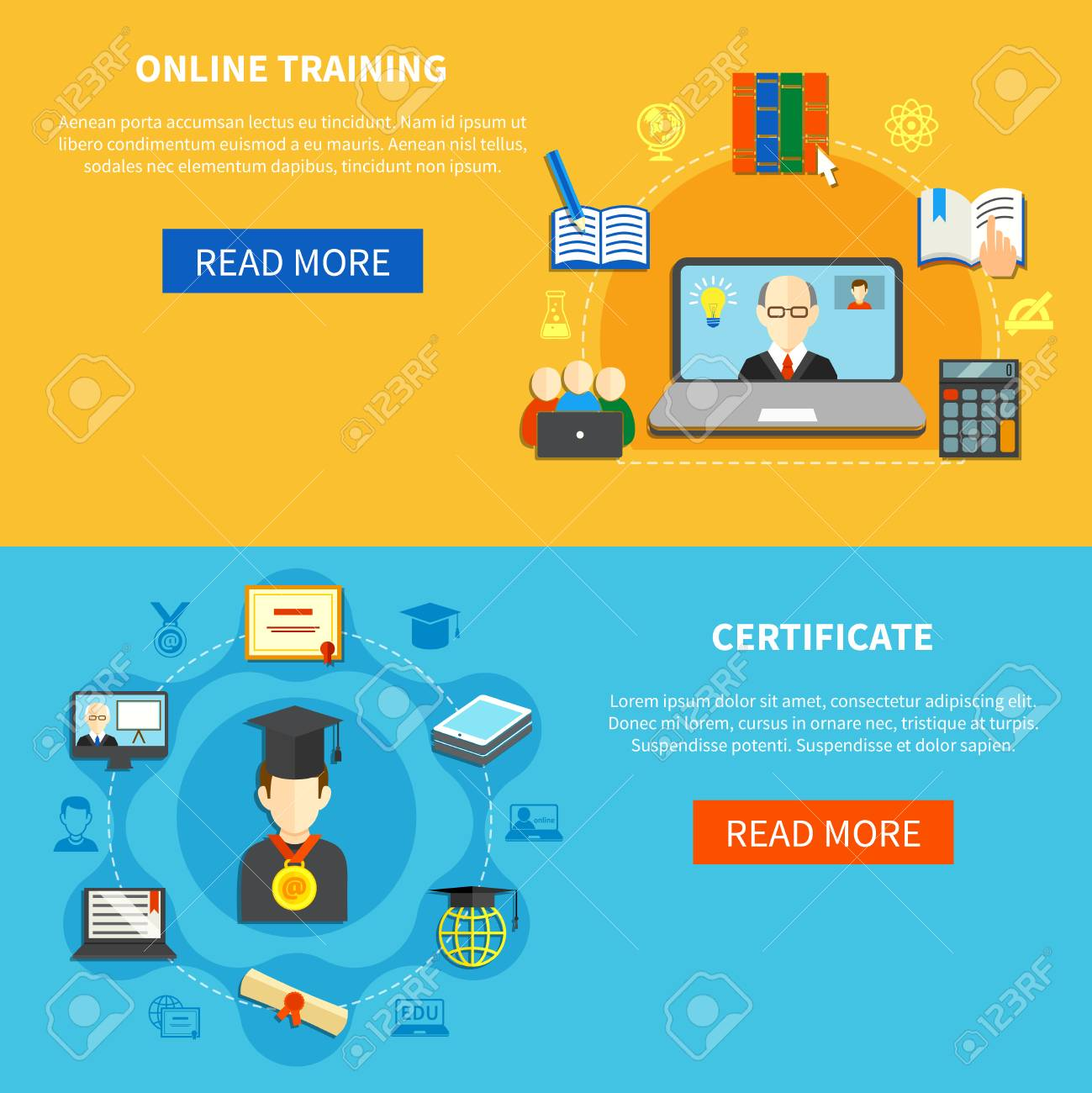 Two Isolated Horizontal Online Training Banner Set With Online