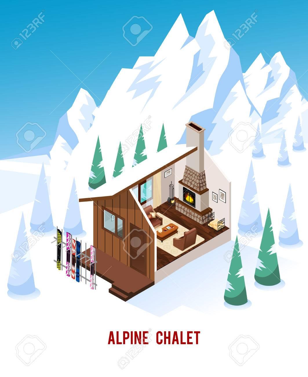 Mobilier Pour Chalet Montagne chalet alpin avec support pour skis cheminée classique et un mobilier  confortable dans les montagnes d'hiver isométrique illustration vectorielle