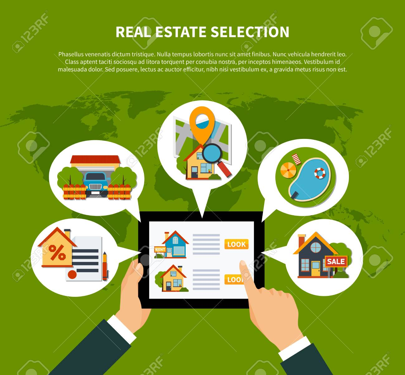 Flat design real estate online selection concept on green background flat design real estate online selection concept on green background with world map vector illustration stock gumiabroncs