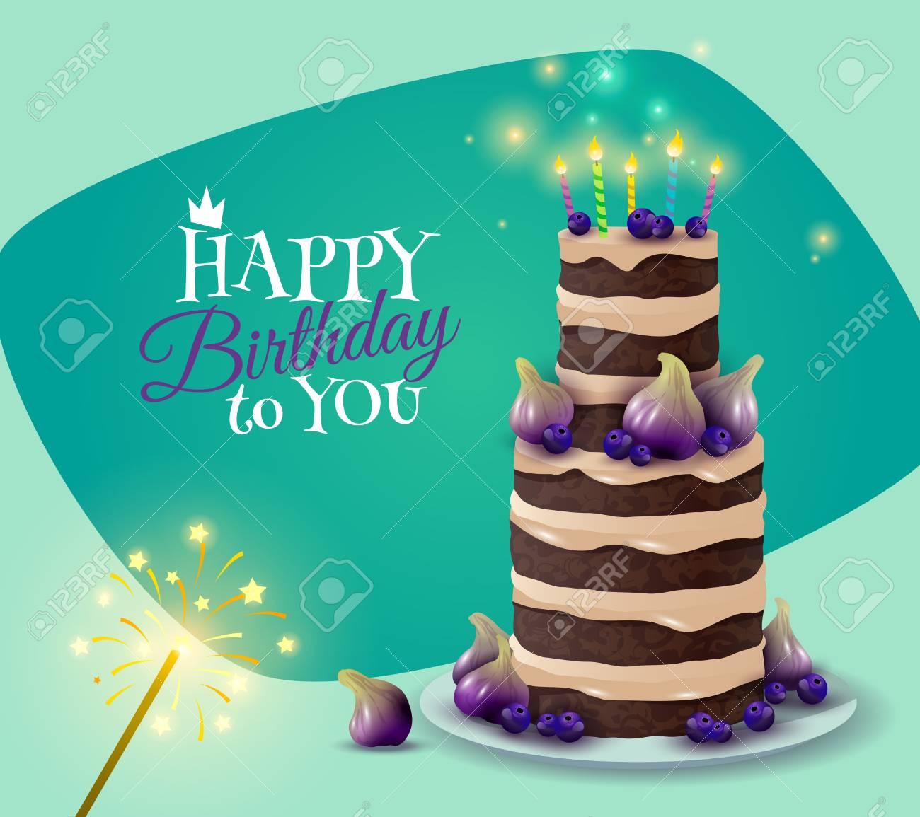 Birthday Cake Card With Celebration And Greeting Symbols Cartoon
