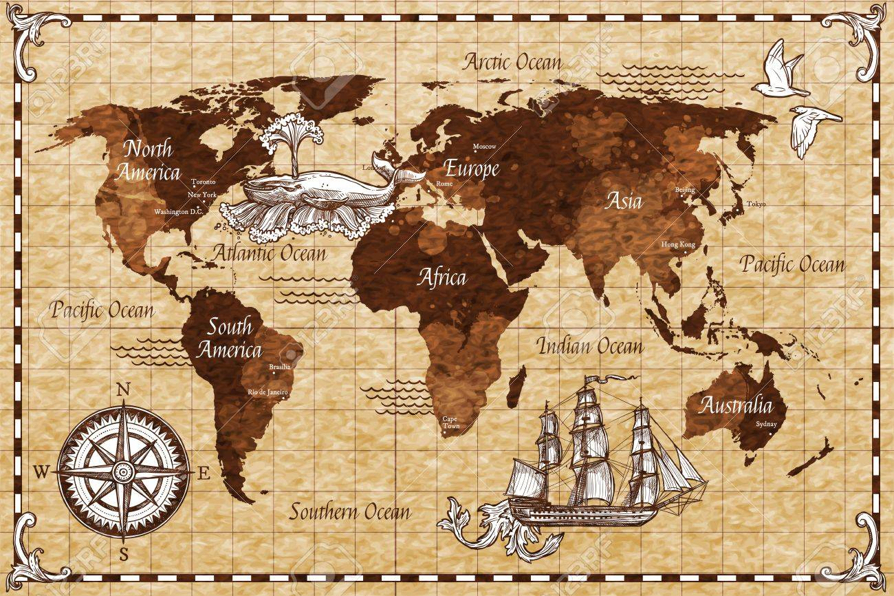 Hand Drawn Sketch Retro World Map With Lettering Doodle Vector