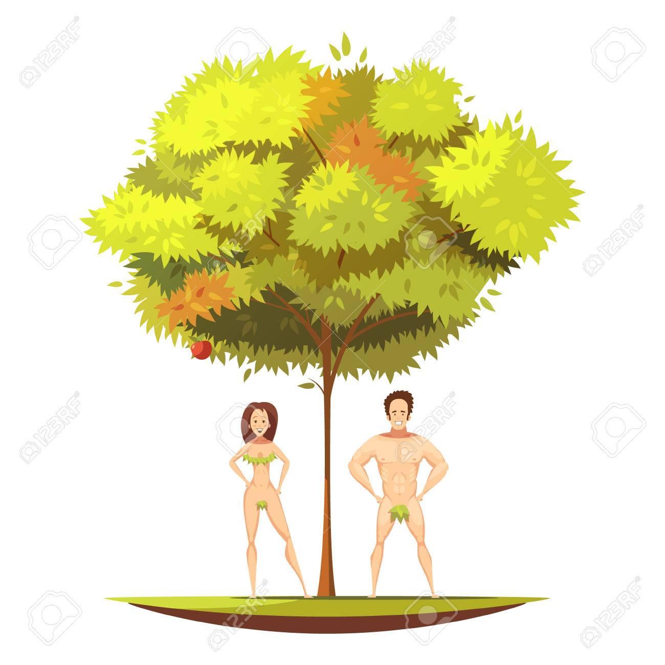 Adán Y Víspera En Jardín De Eden árbol De Manzana Ander Con Fruta ...