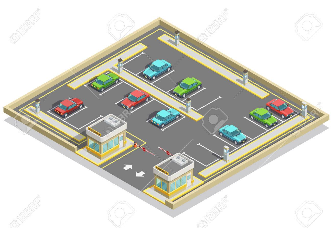 Parking zone isometric location with colorful cars many lots and access control vector illustration - 70939848
