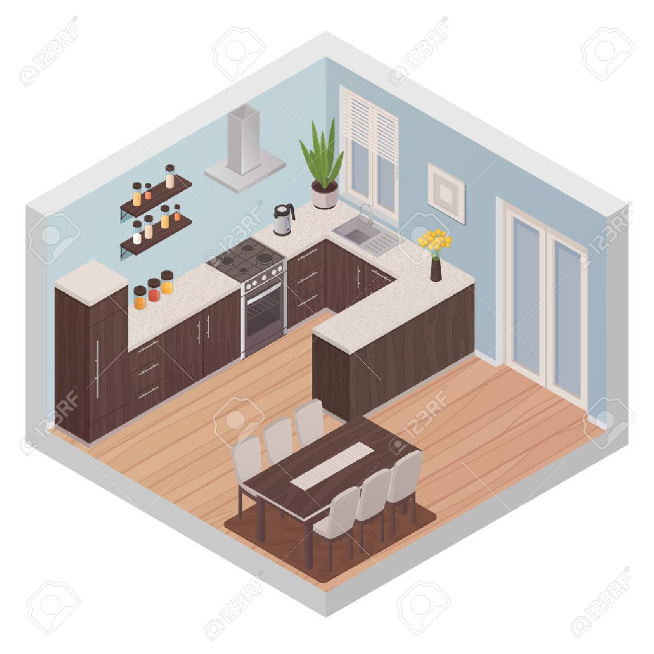 Modern Kitchen Interior Isometric Design Concept With Cooking