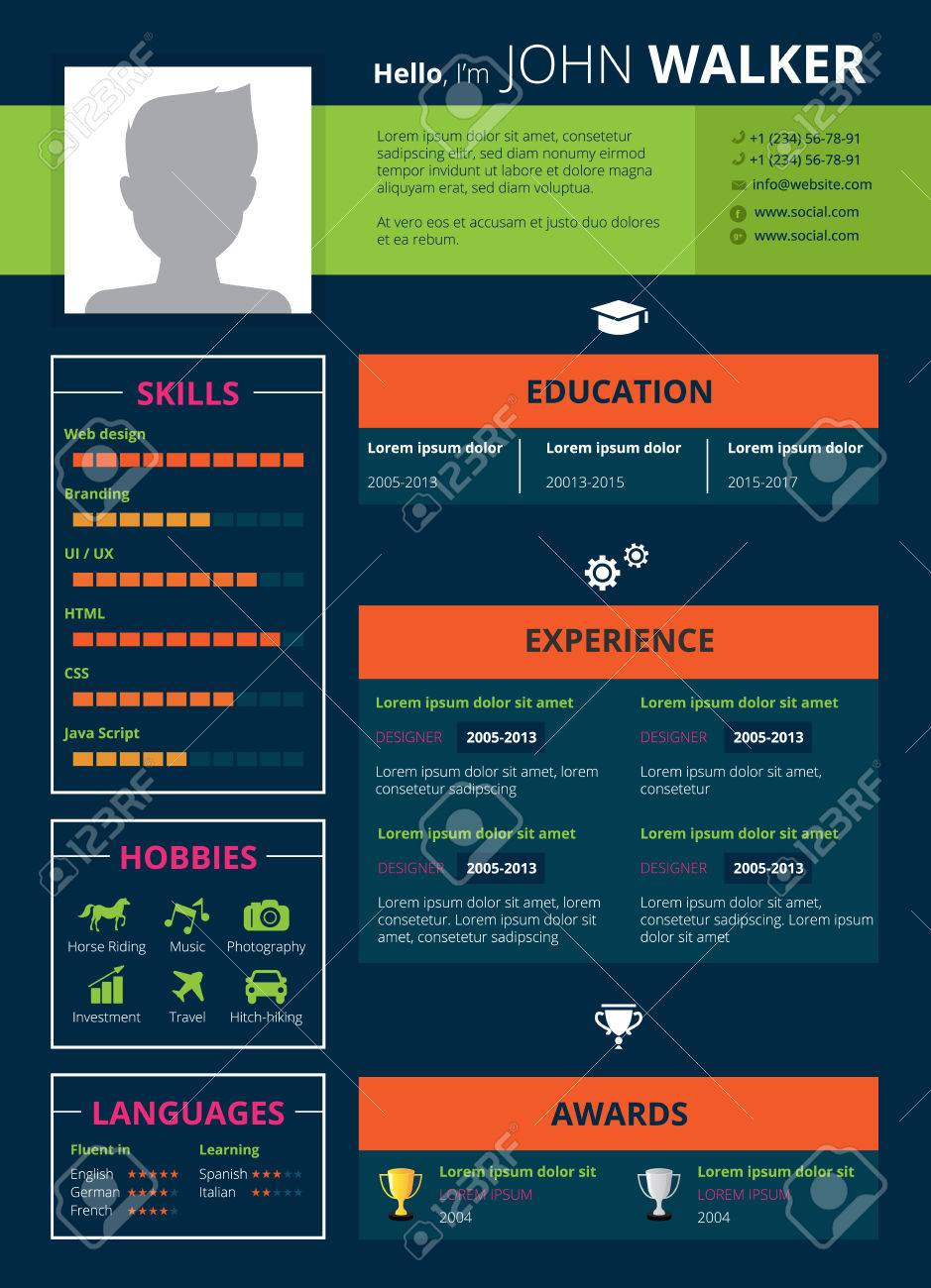 resume page design with skills hobbies and education symbols