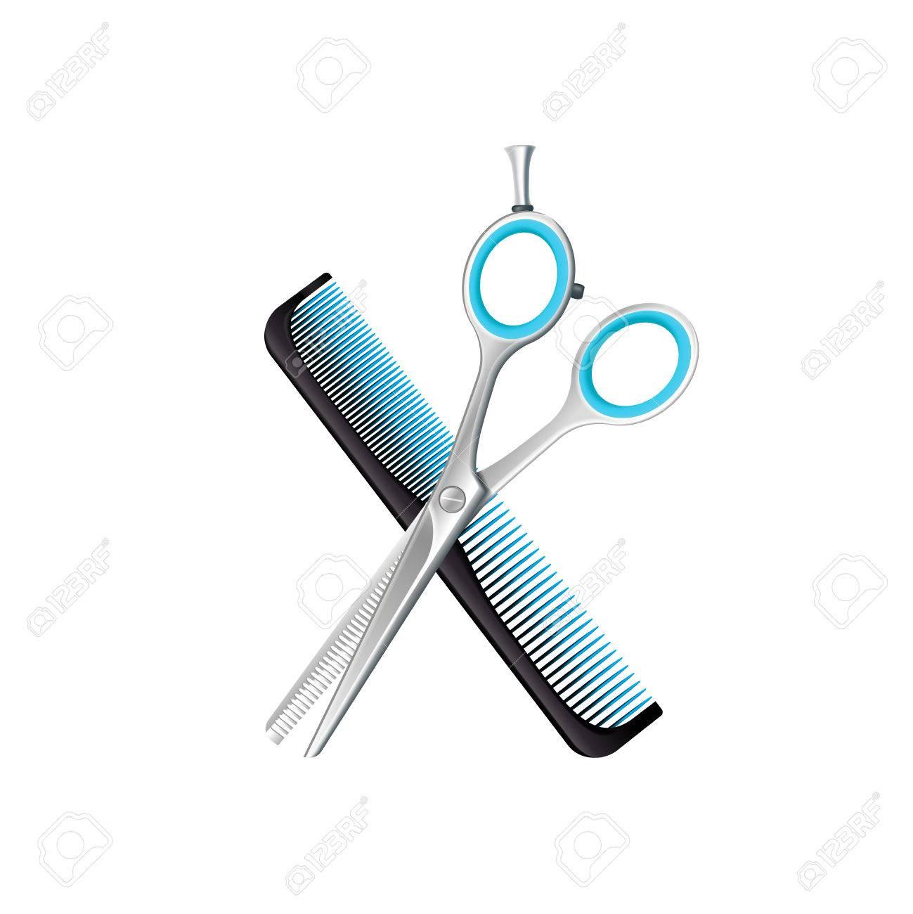 c3b07d464c961 Composición de cruz negro peine y tijeras para adelgazamiento con elementos  azules sobre fondo blanco ilustración