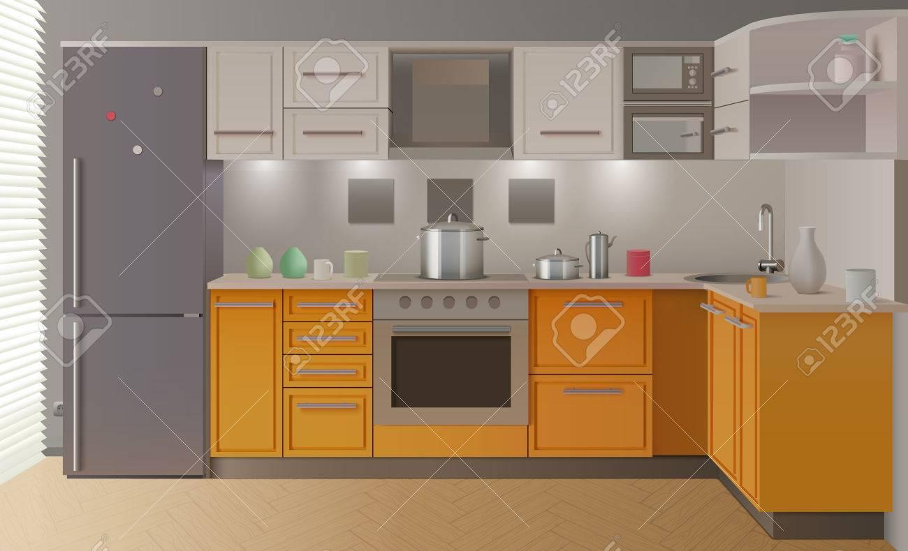Interior De La Cocina Moderna Naranja Con Muebles Y Elegante Crear