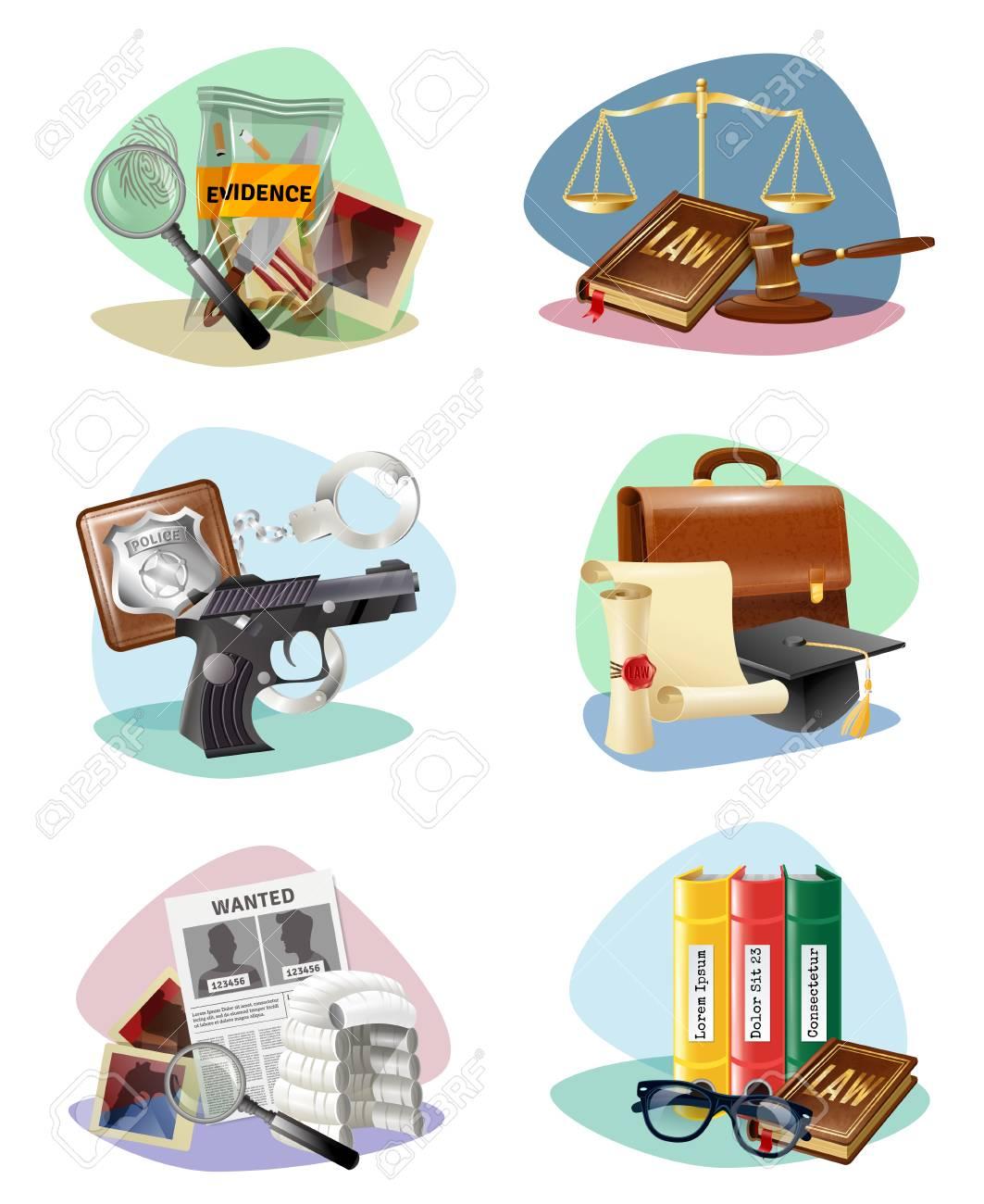 Civil Law Legal System Symbols And Criminal Justice Investigation